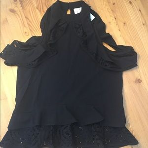 Anthropologie Guest Editor Black Blouse Sz XS